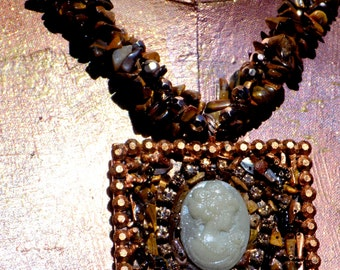 VINTAGE Chunky TIGEREYE CAMEO Pendant with Beaded Necklace