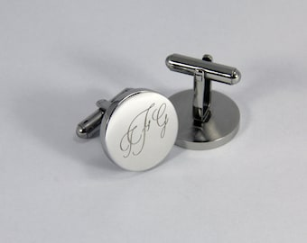 Personalized Cufflinks Engraved Cufflinks Round Gifts for Him Wedding Party Groom Father of the Bride Gift Father of the Groom Groomsmen