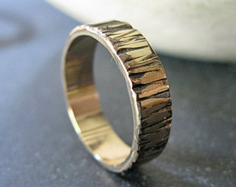 14K Mens Wedding Band Unique Mens Wedding Band Mens Wedding Ring Bark Wedding Band Mens Wedding Rings Viking Wedding Ring Rustic Man Wedding