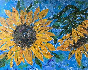 Original Fine Art Acrylic Palette Gallery Canvas Sunflowers