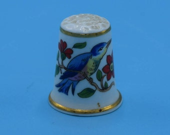 Aynsley Bird Thimble Vintage Blue Bird on a Branch Red Flowers Gold Trim Made in England Thimble Collectible Gift for Her Mothers Day Gift