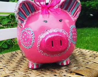 Large Personalized and Custom Painted Piggy Bank, Jumbo Size Bank, Huge Piggy Bank, MADE TO ORDER