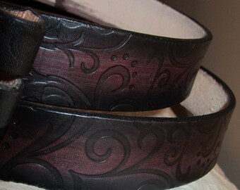 Customizable 1 1/4 inch, Large Swirl Design Leather Ring Belt, Medieval, Renaissance, SCA, Fantasy