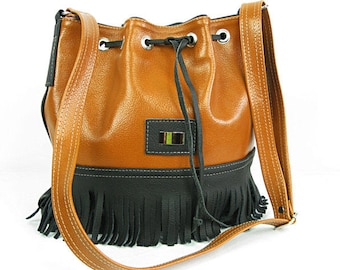 Fringe Bucket Bag,Camel Fringe bag,  Blck Pebbled LEATHER BUCKET Bag -  Leather Shoulder Bag - Crossbody Purse.