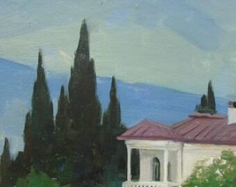 VINTAGE ORIGINAL LANDSCAPE Original Oil Painting 1960s, Soviet Ukrainian Art, Nature painting, Sky, High Quality