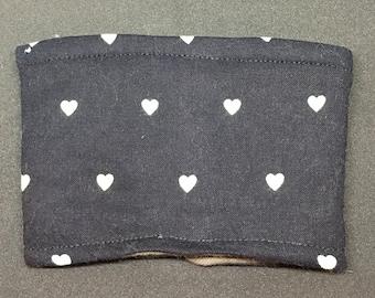 Reusable Fabric Coffee Sleeve / Reusable Coffee Cozy / Cup Sleeve / Eco Friendly Coffee Sleeve / Black with Mint Hearts Print