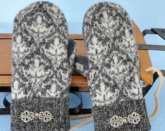 Sweater Mittens Felted Wool Shetland Wool Polar Luxe Lined UpCycled Tailor Made