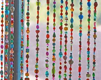 Boho wedding decor,Beaded curtain, Glass Beaded Sun catcher,Window Curtain, Beaded Door Curtain, Hanging Door Beads, Bohemian Curtain
