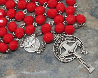 Czech Glass Rosary in Opaque Red; 5 Decade Rosary, Catholic Rosary, Come Holy Spirit Rosary, Veni Creator Spiritus, Men's Rosary, Large