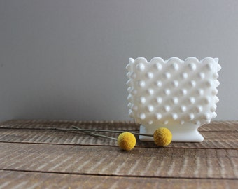 Vintage Fenton Hobnail Milk Glass Square Bowl