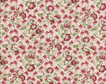 Moda Fabrics - Jardin de Versailles Pearl Rose #13812 12 By French General / Dahlia Natural Floral