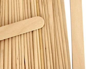 "100 Natural Jumbo Size 6"" Wood Craft Sticks Wedding Fan Sticks"