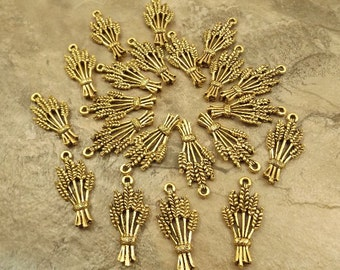 20 Gold Tone Pewter Wheat Sheaf Charms  - 5516