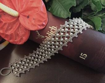Tatting lace bracelet pdf pattern (Eleanor)