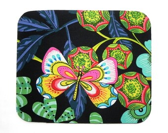 Mouse Pad - Fabric mousepad - Pink, green, yellow and blue butterfly - Home office computer - Trivet