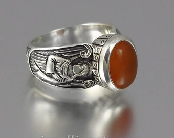 Guardian Angels silver ring with Red Carnelian (sizes 5 to 8.5)