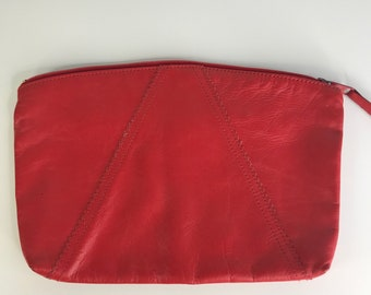 vintage red leather clutch