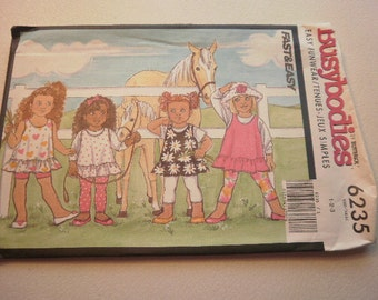 Pattern Vintage Toddler Girl Jumper Top Shorts Leggings Sizes 1-2-3 Busybodies by Butterick 6235