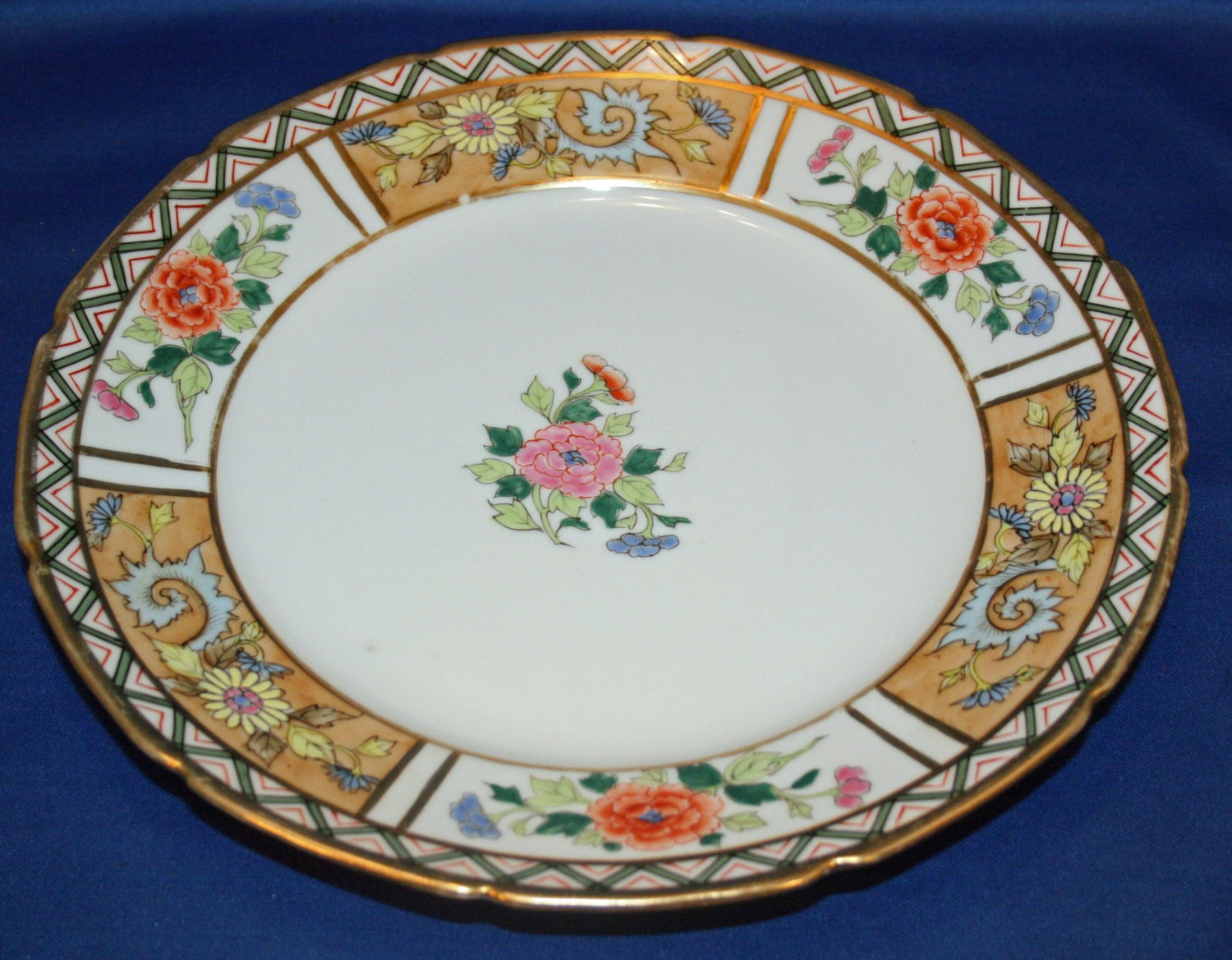 Antique Plate Charger Brothers Noritake Hand Painted 10 1/8 Inch Dinner Plate Gold Gilded - Made in Japan Cabinet Plate Vintage Collectible & Antique Plate Charger Brothers Noritake Hand Painted 10 1/8 Inch ...