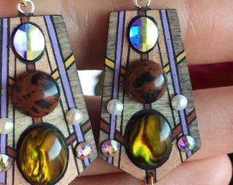 Crystal and Paua Shell Earrings