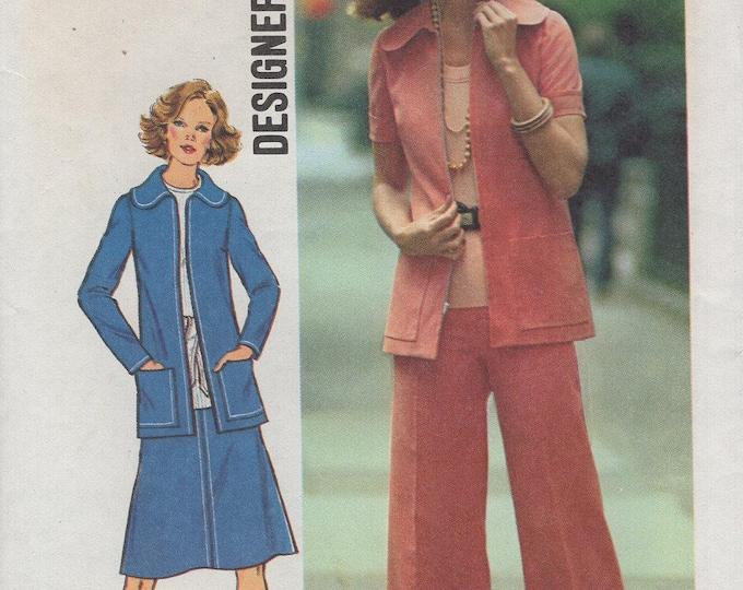 FREE US SHIP Simplicity 6845 Vintage Retro 1970s 70's Designer Fashion Suit Jacket Skirt Pants Wide Leg Pantsuit  Uncut Size 10 Bust 32.5