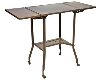 Vintage INDUSTRIAL TYPEWRITER TABLE Drop Leaf Metal Mid Century Plant Stand Steampunk Loft Gray Architectural