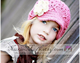 12-24 months Rose Pink Flower Newsboy, Toddler Newsboy Hat, Childrens Hat, Winter Hat for Girls, Pink Newsboy Cap, Newsgirl Hat