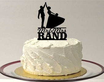 MADE In USA, Personalized Mr and Mrs Silhouette Cake Topper Monogram Personalized Silhouette Wedding Cake Topper Bride and Groom Cake Topper