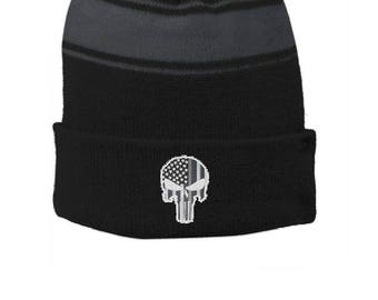 Thin SILVER Line Embroidered Skull Punisher Corrections Officer Guard Black Pom Pom Winter Hat