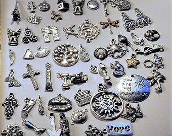 55pc Mixed Lot Silvertone Charms C101