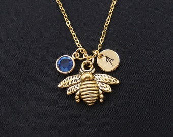 bee necklace, gold filled, initial necklace, birthstone necklace, honeybee necklace, bee jewelry, bridesmaid jewelry, bridesmaid gift, mommy