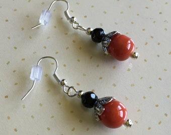Black & Orange Beaded Earrings