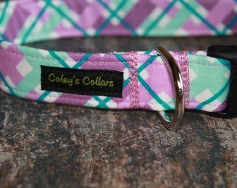 "Dog Collar, Dog Collars, Plaid Dog Collar, Boy Dog Collar, Girl Dog Collar, Trendy Dog Collar, Modern Dog Collar ""The Hello Plaid in Purple"""