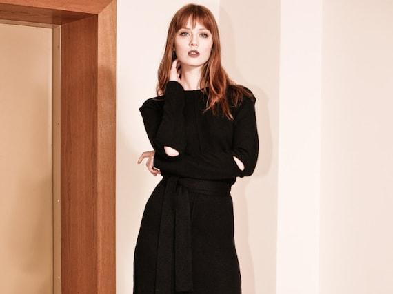 Midi dress dress midi dress cashmere Cashmere dress Black CATHERINE dress A cashmere midi Black dress Black Shift dress line Wn8t1O