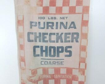 "Purina Checkerboard Feedsack  - 37"" x 18.5""  - orange and blue  40s-50s Farmhouse decor, crafting"