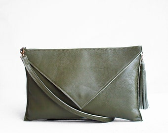 Green Leather Clutch, Evening Leather Clutch, Leather Clutch Bag, Envelope Clutch, Green Bag, Green leather bag, Wedding Clutch