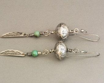 Southwestern Earrings, Sterling Silver Dangle Earrings, Navajo Style Bead Earrings, Turquoise Earrings, Feather Earrings, Boho Earrings