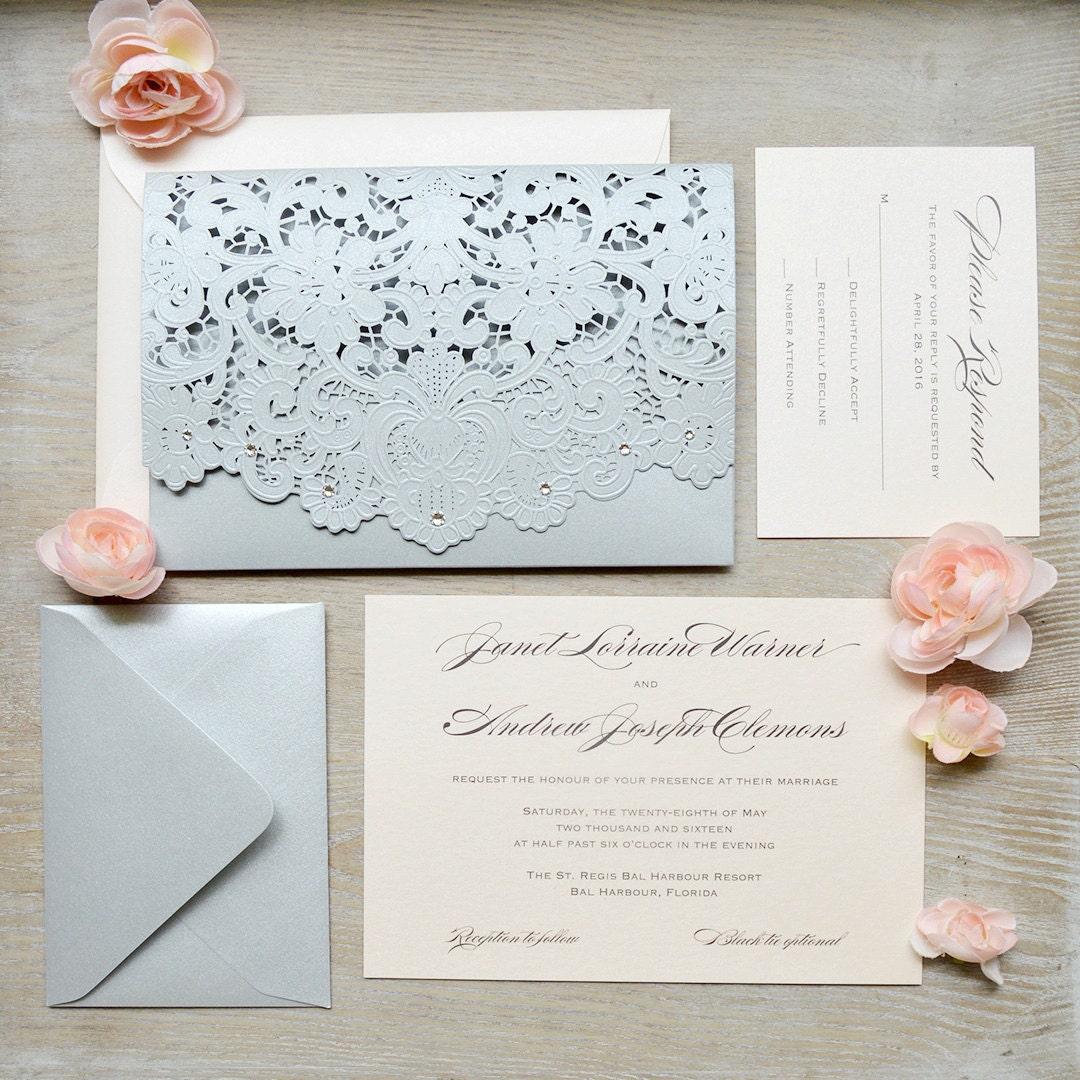 JANET Blush and Silver Laser Cut Wedding Invitation Silver