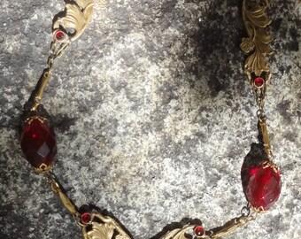 Vintage Art Nouveau Necklace--Red Glass Stones