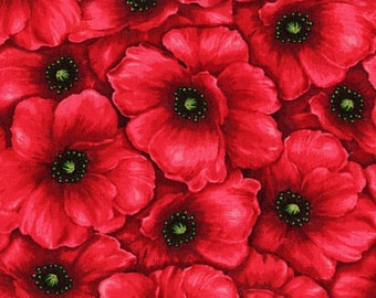 Red Packed Poppy Fabric -  100% Cotton Quilting Apparel Crafts Home decor