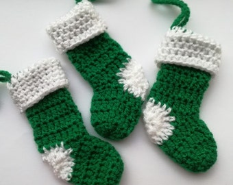 Set of 3 Green Christmas Stocking Crochet Tree Decorations