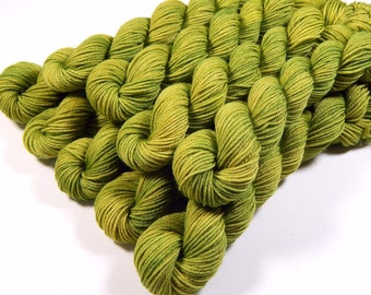 Sock Yarn Mini Skeins, Hand Dyed Yarn, Sock Weight 4 Ply Superwash Merino Wool Yarn, LETTUCE TONAL, Green Fingering Yarn, Knitting Gift