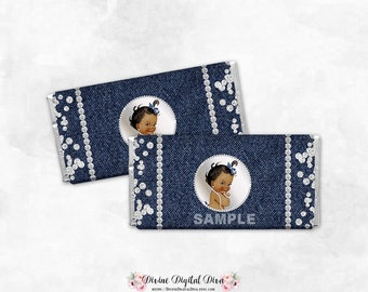 Denim & Diamonds African American Princess | Candy Chocolate Bar Wrappers Full Size | Digital Instant Download