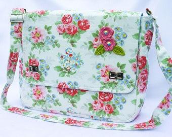 Floral large messenger satchel