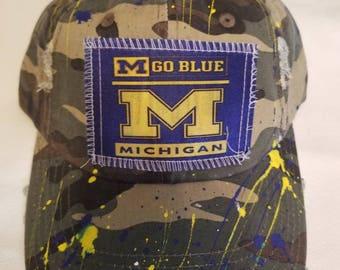MIchigan State painted camo baseball cap