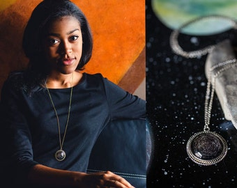 Star Chart Pendant, Constellation Necklace - Northern or Southern Hemisphere - Antique Gold or Silver Tone - Stars, Cosmos, Galaxy, Space