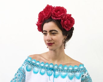 Large Red Rose Flower Crown, Red Rose Headband, Fiesta, Rose Crown, Mexican, Day of the Dead, Frida Kahlo Floral Crown, Red Flower Headband.
