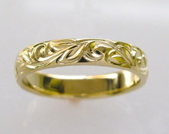 Unique Hand Engraved Wedding Band with Vine and Leaf Pattern 4mm width 14k yellow gold