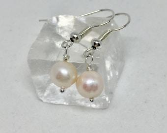 Bridal earrings, white freshwater pearl earrings, freshwater pearl jewelry, silver, white pearl earrings, wedding jewelry, silver, June