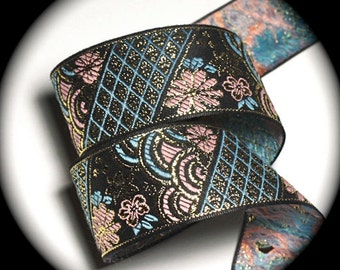 Jacquard  Ribbon 1 1/2 x 2 yards Black, Gold, Blue and Pink